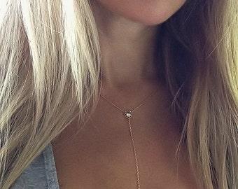 He Loves Me Y Necklace, Y Necklace, Diamond Lariat Necklace, Flower Necklace, Drop Necklace