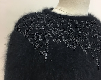 1980s SEQUINED Beaded Oversized Fuzzy Angora Black Sweater w/ Shoulder Pads