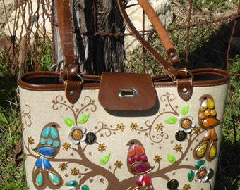 "Vintage Enid Collins Canvas Leather Bucket Purse ""Sittin' in a Treetop"" , Sittin' in a Treetop Enid Collins Texas Bag, Texas 1960's"