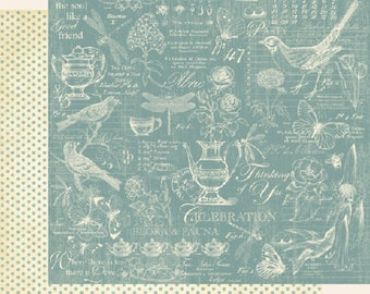 Graphic 45, Botanical Tea, Robin's Egg, 12 x 12 Paper Single Sheet, Retired, Floral