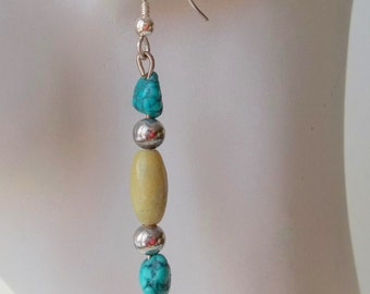 Yellow Turquoise, Turquoise, and Silver Earrings