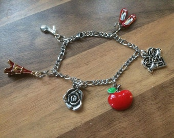 Silver charm bracelet red ballet shoes, claddagh heart, red apple, silver rose, red eiffel tower, stiletto shoe