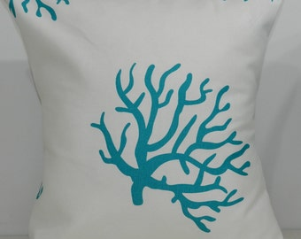 New 18x18 inch Designer Handmade Pillow Cases. turquoise and white coral patterned fabric.