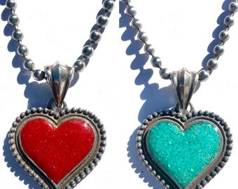 Rockin Out Jewelry - The Beloved - Sterling Silver - Heart - Pendant - Turquoise - Necklace - Red - Coral - Valentines For Her - Western