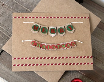Handmade Christmas Card, Merry Christmas, Brown Craft Paper, Unique, One of a Kind, Blank Inside, Free US Shipping
