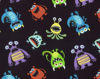 Reserved - Monsters on Black - By the Yard - Flannel