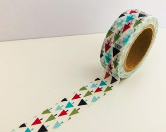 Christmas Washi Tape - Single Roll -Geometric Triangle Tree - 15mm x 10 metres -Cream Background