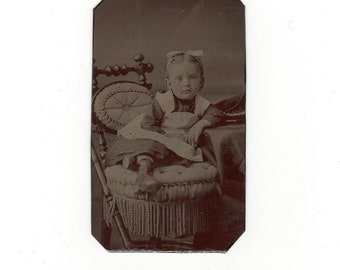Adorable little girl, antique tintype photo