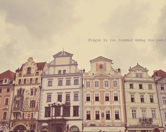 Prague Architecture, Prague Wall Art, Prague Print, Prague Photo, Prague Art, Pastel Prague, Home Art Decor, Typography Photo