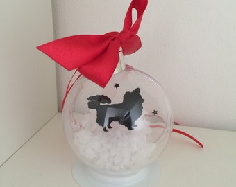 Long Haired Chihuahua Silhouette in the Snow  Pet Bauble