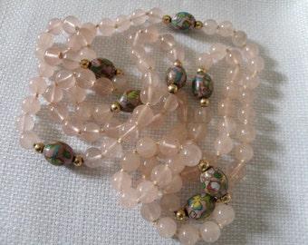 Cloisonne and Pink Quartz Bead Necklace - 36 inch