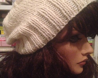 Ivory Slouchy Knit Hat Slouch Tam Beanie
