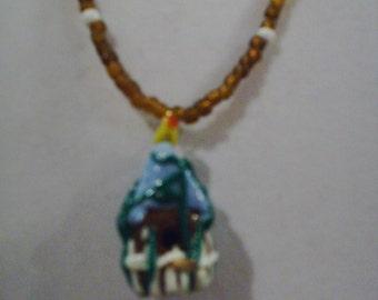 Brown Birdhouse Necklace