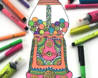 Downloadable coloring page, Gumball machine adult coloring page, Kids coloring page download, Mandala coloring page