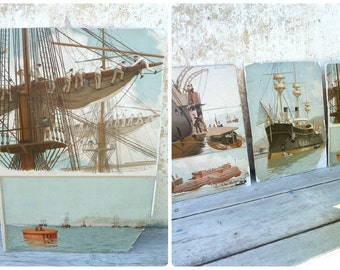 Vintage Antique 1900 French chromolithograph on cardboard boat