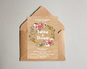 Tahlia & Thomas Floral Engagement OR Wedding Invitation