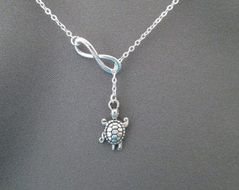 Silver Turtle Necklace - Lariat Style