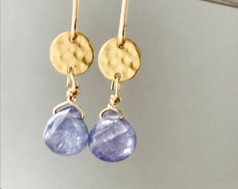 Tanzanite Earrings Gemstone Earrings Dainty Earrings Purple Earrings Healing Earrings Minimalist Earrings Gold Disc Earrings