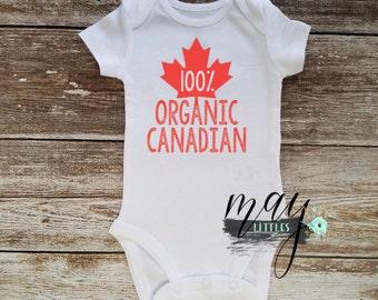100% Organic Canadian Onesie - Canada Day Bodysuit - I Am Canadian