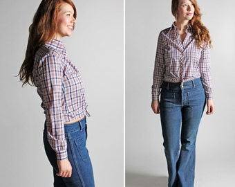 Vintage Plaid Button Up Blouse- Small Plaid Fall Blue Pink Top Shirt Long Sleeve Blouse Feminine Country Oxford- Size Medium