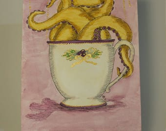 Original Watercolor - Tentacle Teacup with Metallic Accents