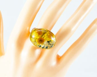 Real dried  yellow Tansy Weed flower in silver plated adjustabel ring.