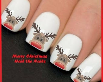 Christmas Reindeer Nail Nails Water Transfers Decals Art Vintage Style Red Nose YT2057