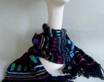 Hand knitted mixed yarn WINTER SCARF