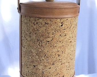 Vintage 1960's Cork and Faux Tan Leather Ice Bucket