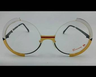 Casanova vintage glasses, Round woman eyeglasses, Golden Silver Metal  Frame, collectors and lovers item, unworn vintage Model FC4 spectacle