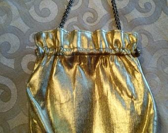Vintage Gold lame evening purse