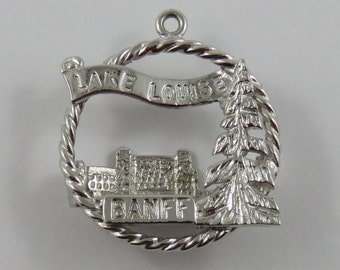 Lake Louise Banff Alberta Sterling Silver Vintage Charm For Bracelet