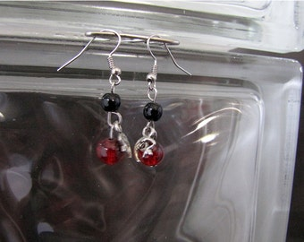 Petite Hand Made Red and Black Moon and Star Earrings - Item Number 5126
