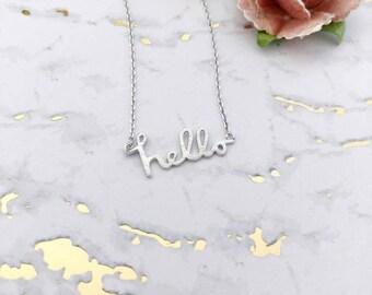 Silver Hello Dainty Necklace