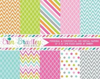 80% OFF SALE Crochet Fun Digital Papers Polka Dots Chevron Stripes Pink Green Orange Blue Gray Digital Paper Pack Commercial Use