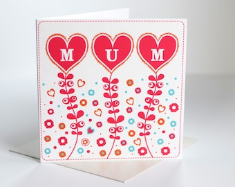 Mum card Happy mothers day card birthday card for mum mothers day cards beautiful card for mum pretty card for mum (BK31)