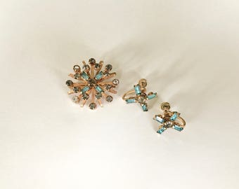 Vintage Brooch & Earrings - Bugbee + Niles Starburst Aquamarine Rhinestone and Gold Brooch and Earring Set