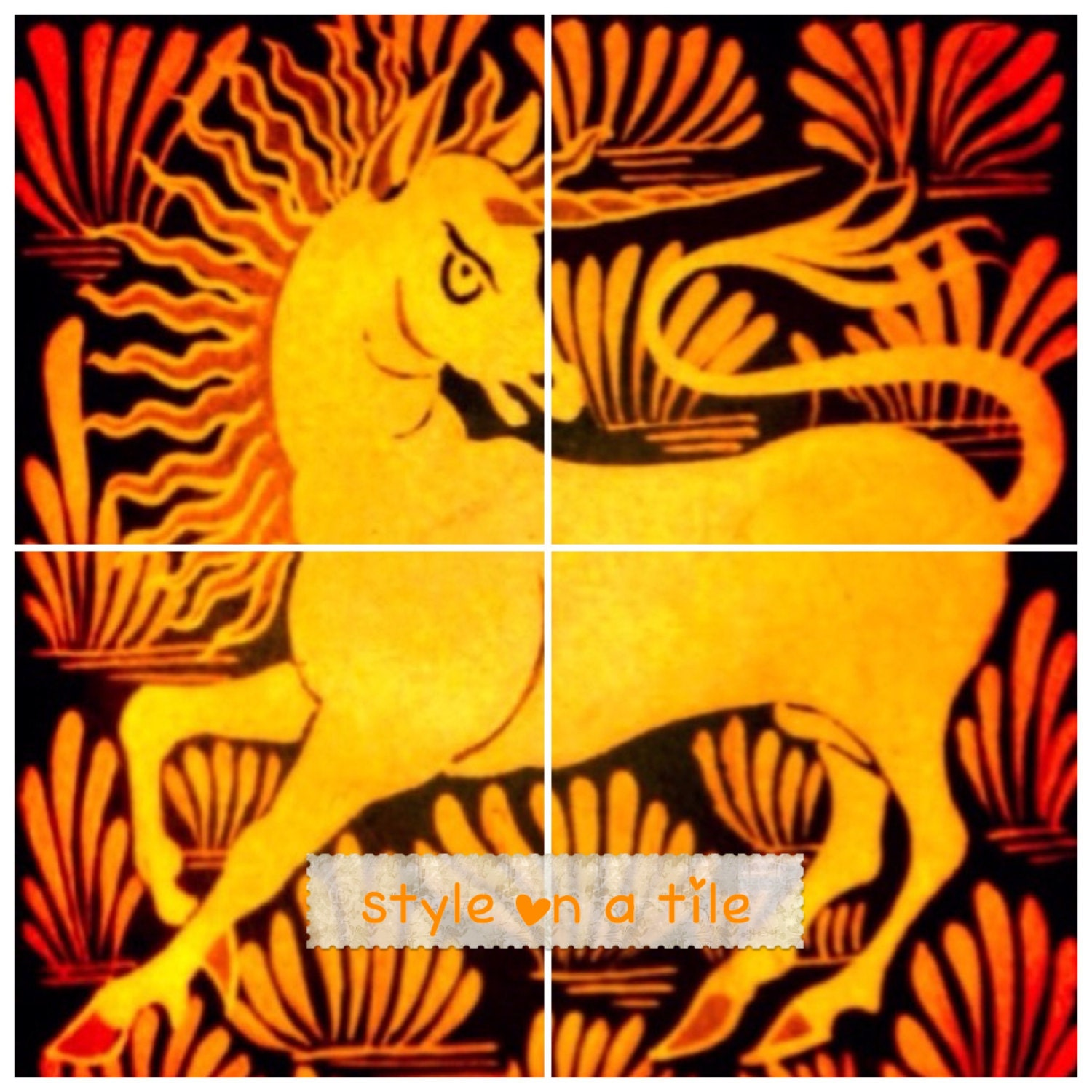 Lovely Arts and Crafts William De Morgan Burnt Gold Unicorn 4 x 6 or ...