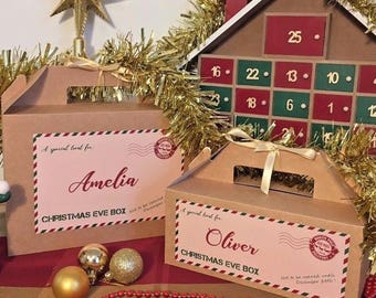 Personalised Christmas Eve Box | XMAS Favour Present | Ribbon and Tissue Paper
