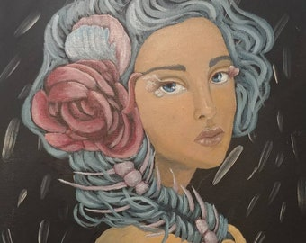 11x14 acrylic painting on canvas fantasy portrait