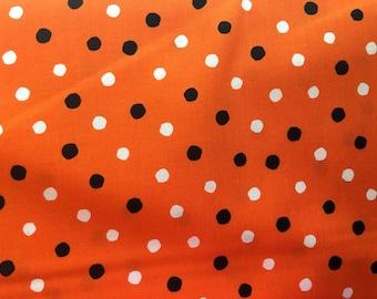 Orange, black and white dot fabric - Halloween fabric - Robert Kaufman Celebrate Seuss 2 fabric - orange polka dot fabric #17132