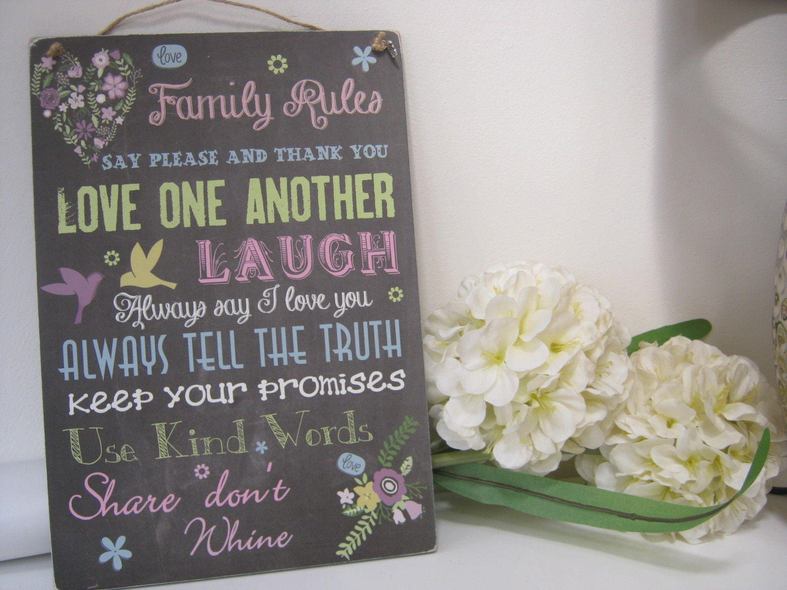 Handmade Wall Plaque Inspirational Family House Rules Fun Gift - Inspirational words for new home