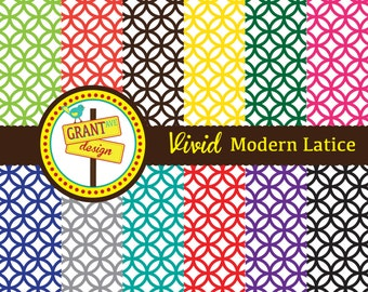 Modern Lattice Digital Papers - Backgrounds for Invitations, Card Design, Scrapbooking, and Web Design