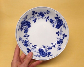 Royal Meissen China floral blue bowl fine china vintage japan 7 5/8 inches