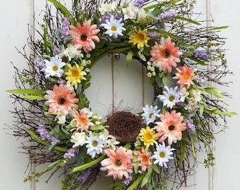Summer Wreath, Spring Door Wreath, Spring Wreath, Front Door Wreath, EverydayWreath, Daisy Wreath, Wreath Front Door, Wreaths, Wreath Spring