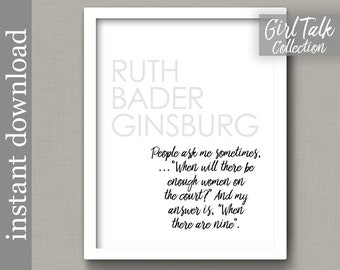 Ruth Bader Ginsburg, Ginsburg Quote, Printable art, feminist art, inspiration quote, lawyer gift, feminist print, girl power, feminism, RBG