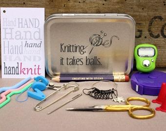 Knitting Notions Tin- Knitting, It Takes Balls, Project Bag Tool Tin, Knitting Notions, Knitting Tool Box