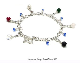 Silver Plated Purity Charm Bracelet  with Detachable Gemstone Charms Lava and Jade style Custom Made to Order