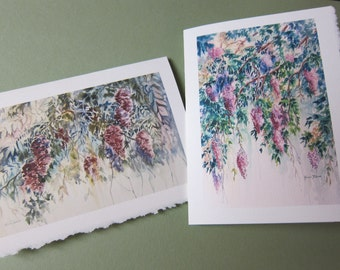 Wisteria 5 x 7  Note Card Wisteria Vines Pick one, 2 choices purple lavender watercolorsNmore