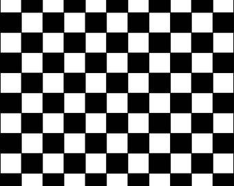 Checkered Black and White Print Edible Image Sheet